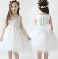 Wholesale Kids Feather Vests - White Tutu Sheer Neck Flower Girl Dresses A Line Covered Zipper Gowns Tea Length Tulle Girl Kids Pageant Dress