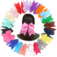Wholesale Elastic Bows For Gifts - 21 colors Girls Grosgrain Ribbon big bow hair rope kids solid color ribbon Hair ring elastic hair accessory for kids gifts