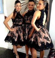 Wholesale Nek Dresses - 2017 New High Nek Black Lace Bridesmaid Dresses Open Back Short Lace Bridesmaid Dress A Line Knee Length Wedding Party Gowns