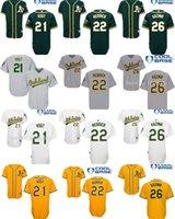 Wholesale Scott Yellow Jersey - 2017 Cheap Mens Womens Kids Oakland Athletics 21 Stephen Vogt 22 Josh Reddick 26 Scott Kazmir White Grey Green Yellow Baseball Jerseys