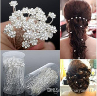 Wholesale silver flower hairpins resale online - Wedding Accessories Bridal Jewelry Bridal Pearl Hairpins Flower Crystal Pearl Rhinestone Hair Pins Clips Bridesmaid Women Hair Jewelry