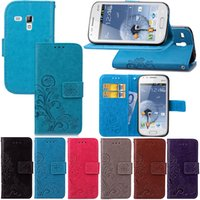 Wholesale S7562 Tpu - For Samsung Galaxy S7562 Wallet Case Cover PU Leather Concave Coining Lucky Four Leaf Clover with Magnetic Flip Buckle Card Slots