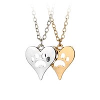 Wholesale White Leaves Necklace - You Left Your Paw Prints on My Heart Rescue Dog Cat Silver-Tone Paw Print Heart Necklace Heart with Paw Cutout Pet Lover Jewelry 5