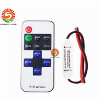 Wholesale Rf Single Led Controller - Led Controller 11key wireless DC5-24V mini dimmer RF remote control for single color led strip 5050 3528 high quality