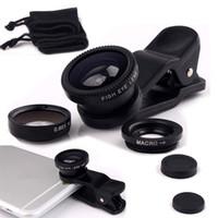 Wholesale camera for lenovo - Fisheye Lens 3 in 1 mobile phone clip lenses fish eye wide angle macro camera lens for iphone 6s plus 5s 5 xiaomi huawei lenovo