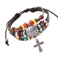 liebe kreuz armband großhandel-Explosion, Kreuz Persönlichkeit Armband, Lederarmband, neue Stil Schmuck Kreuz, ich liebe Jesus Kirche Geschenk, Kirche Geschenk kostenlose Lieferung