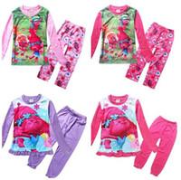 Wholesale Suit Pajamas Girl - Newly Trolls Kids Outfit Suits 2017 Pajamas Sets Pyjamas Trolls Poppy Princess Long Sleeve Tshirts Pants 2Pieces Clothing Sets Kids Clothes
