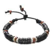 Barato Cerâmica De Moda Por Atacado-Atacado- Moda Casual Jewelry Unisex Clay Charm Bracelets Handmade Beaded Hand Rope Chain Bracelet Ceramic For Women Men Gifts