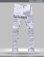 Wholesale Newspaper Pencils - Wholesale-Hot Men's John Males Galliano Top Quality Punk Rock Nightclub DS DJ Newspaper printed pattern Slim Jeans Motorcycle Jeans