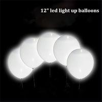 Wholesale White Balloons Led Light - Flashing Magic Led White Ballons Light Up Balloon Glow In The Dark Wedding Decorations Latex Balloons Drop Shipping