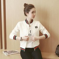 Wholesale Women Jacket Wholesale - Wholesale- 3 color stripe splice casual bomber jacket women 2017 spring autumn Harajuku long sleeve baseball jacket woman bolero tops