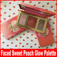 Wholesale Blush Palettes - Faced Makeup Sweet Peach Glow Illuminating Blush Highlighters & Bronzers Palette Retail Highlighter 3colors face powder blush palette