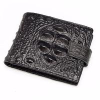 Wholesale Vintage Interior Design - 100% Vintage Genuine Leather Men Wallets Cowhide Leather Wallet Short Alligator Design Male Purse Hasp Credit Card Holder