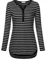 Wholesale Roll Sleeves - Women Autumn Winter Casual Striped Tunic Shirts With High Low Hem Slim Fit Casual Tops V-Neck 3 4 Roll Up Sleeve T Shirts ZL3460