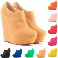 Wholesale Womens Platform Wedge Boots - New Womens Autumn Winter Elegent Platform High Heels Suede Shoes Ankle Boots Wedges Botas Femininas Europe Size 35-42 D0042