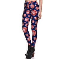 Wholesale Pink Snowflake Ornament - New Arrival 3777 Girl Christmas Red snowflake Ball ornament Printed Elastic GYM Fitness Polyester Workout Women Sport Leggings Yoga Pants