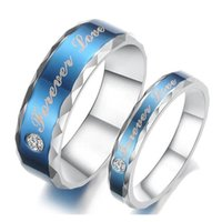 Wholesale Couples Blue Stainless Steel Rings - Mens Couples Blue Couple Forever Love Rings Engagement Wedding Titanium Stainless Steel Bands CZ Inlay Wave Edges