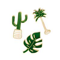 güzel yapraklar toptan satış-Yağ Emaye Pin Damlalar Güzel Palmiye Yapraklar Bitki Kaktüs Karikatür Broş Moda Dekor Yaratıcı Tasarım Hediye 1 67 wz F R