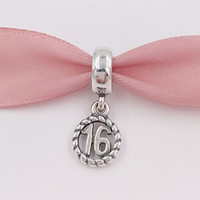 Wholesale Imitation Gold Beads - Authentic 925 Sterling Silver Beads Sweet 16Th Birthday Pendant Charm Fits European Pandora Style Jewelry Bracelets & Necklace 790494