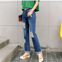 Wholesale Korean Slim Skinny Models - 2017 Hot Korean Models Fashion Women Jeans Casual Ladies Hole Jeans bell bottom Denim Ripped Jeans Womens clothes