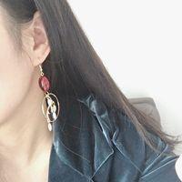 Wholesale agate pendant free shipping resale online - Retro Dendrites Red Agate Pearl Circle Exagger Earrings Ear Hook Pendant Earrings