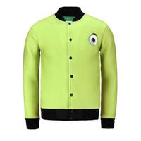 Wholesale unique sweatshirts - One Eye Monster Green Base 3d Printed Men Jacket Funny Sweatshirts Long Sleeve Unique Male Outwear For Boys Wholesale BL-064