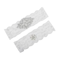 Wholesale Ivory Wedding Bridal Garter - Real Picture Pearls Crystals Bridal Garters for Bride Lace Wedding Garters Handmade White Ivory Cheap Wedding Leg Garters In Stock