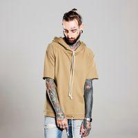 Wholesale Wholesale Streetwear Sweatshirts - Wholesale- Hip hop fashion Drawstring hoodie Kanye West pullover men hoodies short sleeve hooded streetwear sweatshirt moletom masculino