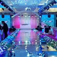 ingrosso decorazioni di nozze pezzi centrali-Vendita calda tappeto da sposa Centro pezzi Specchio corridoio Runner oro argento Double Side Design T Station Decoration Wedding