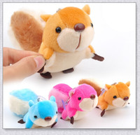 Wholesale Tails Doll - 20PCS LOT 8CM Mini Colorful Lovely Little Squirrel Plush Stuffed Doll Pendant Big Tail Cartoon Nice Gift