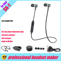 Wholesale Headphone Control Sport - hight fidelity S6-1 Bluetooth v4.2 Stereo Wireless in-ear in-line control headset sport Neckband headphone silicon mic,CE rohs,in retail bag
