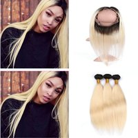 Two Tone 1B 613 Ombre Glattes Haar Bundles Mit 360 Spitze Band Frontal Schließung Dark Roots Blonde Ombre Haar Spinnt Mit 360 Frontal