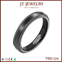 Wholesale Tungsten Mens Rings Sale - 4mm Black Tungsten Carbide Mens Women Wedding Band Comfort Fit Polished Edges Centre Smooth Brushed Polish Ring On Sale 7#-13#