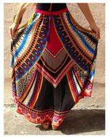 Wholesale Ethnic Print Skirts - Beach Long Ethnic Skirts Women Lacing Traditional Print Dashiki Jupe Long Maxi African Skirt Vintage Jupe Longue Femme Big Swing Beach Wear