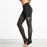 Wholesale Transparent Leggings Tights - Women Mesh Leggings Black Patchwork Running Tights Blue Fitness Skinny Pants Green Transparent Sports Pants Push Up Gym Leggings
