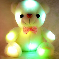 Wholesale Teddy Bear Soft Toy White - Wholesale- Kids Favorites!New Arrival 20cm Lovely Soft LED Colorful Glowing Teddy Bear Stuffed Plush Toy Gifts For Christmas Birthday