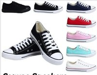 Wholesale navy blue casual shoes - NEW size35-45 New Unisex Low-Top & High-Top Adult Women's Men's star Canvas Shoes 13 colors Laced Up Casual Shoes Sneaker shoes retail