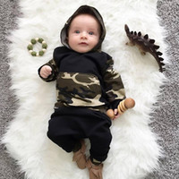 Wholesale Boys Camo Long Sleeve - Wholesale 2017 Kids Boys Camo Clothing Baby 2 Pieces Sets Children Spring Autumn Suits Long Sleeve Hooded Sweater Pants For 70-100