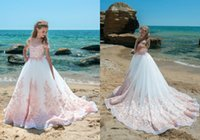 Wholesale Elegant Gowns For Girls - Short Sleeve Sheer Jewel Neck Flower Girl Dresses Luxury Applique Pink Pageant Dress For Beach Wedding Elegant High Quality Communion Gowns