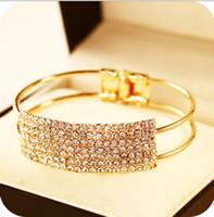 Wholesale Diamond Fish Jewelry - Korean jewelry wholesale Korean fashion elegant 18K gold-plated rectangular Starry Full Of Diamond Bangles bracelet accessories