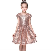 Wholesale Evening Gowns Wholesale Sleeves - Baby Girls Chiffon Party Evening Dress Sequins Kids Short Sleeve Princess birthday party dress free shipping