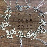 colar de aço zodiacal venda por atacado-Constelação do zodíaco Pingente Colares Sinal Símbolo Jóias de Aço Inoxidável Mulheres Charme Colares Meninas Presente de Aniversário Pingentes Zodiacs