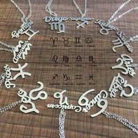 ingrosso ciondoli zodiacali-Zodiac costellazioni pendente collane segno simbolo in acciaio inox gioielli donne collane di fascino ciondoli regalo ragazze all'ingrosso nuovo arrivo