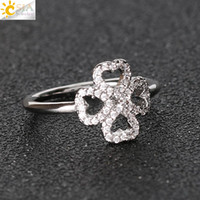 Wholesale Wholesale Diamond Jewelry Online - CSJA Lover European American CZ Diamond Beads Wrap Four Leaf Clover Ring Gift of Love Size 7 Wholesale 10pcs Online Jewelry Shop E372