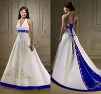 Wholesale Royal Castle - Court Train Ivory and Royal Blue A Line Wedding Dresses 2016 Halter Neck Open Back Lace Up Closure Bridal Gowns Custom Made Wedding Dress