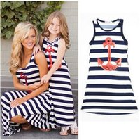 Wholesale Matching Mommy Daughter Dresses - Hot Selling Mother and Daughter Dress Anchor Stripe Sleeveless Bohemian Dress Family Matching Outfits Dress For Mommy and Girl