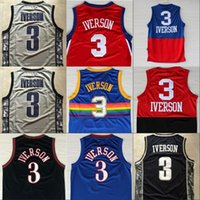 Wholesale Basketball Jersey Usa - Retro Shirt Cheap Men's #3 Allen Iverson Jerseys USA Alll Star Black Blue White Rev 30 Classical Throwback Jersey 100% stitched