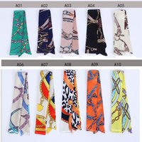Wholesale Cheap Handbag Handles - 2017 Cheap Twilly 70 Colors Handbag Wraps Fashion Colorful Print Bags Handle Wrap Silk Scarves For Bag Accessories