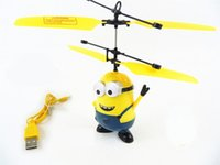 Wholesale Helicopter Rc Smallest - Remote Control Helicopter Toys Small Yellow People Remote Sensing Aircraft Dual-mode Suspension Kids mini rc toys Indoor&outdoor