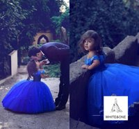 Discount blue cinderella pageant dresses - Stunning Butterfly Princess Girls Cinderella Dresses 2017 Ball Gown Royal Blue Girl's Pageant Gowns Lovely Cap Sleeves Wedding Party Dress